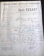 MAUBEUGE FACTURE ACIERS FERS METAUX CHARBONS EMILE DUSART 63 ROUTE D'AVESNES USINE 59 NORD MINE - 1900 – 1949