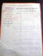 MAUBEUGE FACTURE AGUETTAND § SERRE QUAI DE JEMMAPES MATERIAUX DE CONSTRUCTIONS B.T.P. ARDOISES TUILES CARRIERE CIME - France