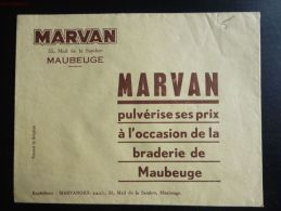 MAUBEUGE MARVAN 55 MAIL DE LA SAMBRE BRADERIE DE MAUBEUGE LETTRE PUBLICITE - Publicités