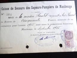 MAUBEUG CAISSE DE SECOURS DES SAPEURS-POMPIERS TIMBRE FISCAL RECU 50 FRANCS POMPIER 59 NORD - Vieux Papiers