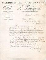 """MAUBEUGE FACTURE MUSIQUES EN TOUS GENRES """" L. DUBUQUOIT 3 RUE DE LA MAIRIE PIANO VILON MANDOLINE PHONO § DISQUE  LU - France"""