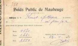 MAUBEUGE FACTURE POIDS PUBLICS RECU BON DE PESEE 59 NORD - France