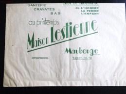 MAUBEUGE GANTERIE CRAVATES MAISON LESTIENNE ENVELOPPE SAC EN PAPIER PUBLICITE 59 NORD - Publicités