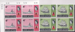 Gibraltar 1969 Definitive 4d And 7d Block 4 MNH - Gibraltar