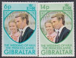Gibraltar 1973 Royal Wedding  Set MNH - Gibilterra