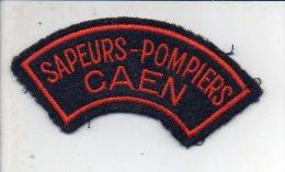 """Pompiers - Ecusson Ou Badge De Manche Tissu  """" Sapeurs Pompiers Caen  """" - Firemen"""