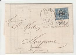 Sage Perforé PL Sur Lettre Le Mans 1883 - P. Talvande - 3 Scans - Perforés