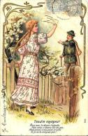 [DC2601] CPA - COPPIA - TENERO VIAGGIATORE - IN RILIEVO CON INSERTI DORATI - Viaggiata 1903 - Old Postcard - Coppie
