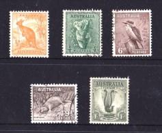 Australia 1948 - 1956 Zoologicals, Wildlife Set Of 5 Used  No Wmk SG 228 - 230d - Oblitérés