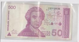Croatie 500 Dinara 1991  P21 Circulé - Croatie
