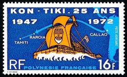 POLYNESIE 1972 - Yv. PA 64 ** TB  Cote= 16,00 EUR - Arrivée Du Kon-Tiki à Tahiti ..Réf.POL22812 - Poste Aérienne