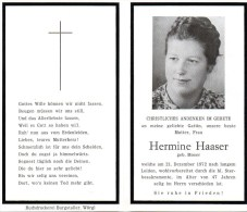 Andachtsbild Sterbebild - Hermine Haaser Geb. Moser Gest. 21. Dezember 1972 - Religion &  Esoterik
