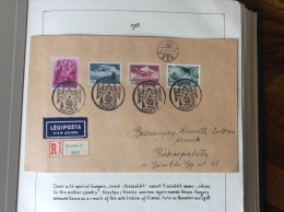 Hongrie  MIXED FRANKING HUNGARY CZECHOSLOVAKIA Registered Par Avion Cover KASSA VISSZATERT 1938 (lettre Brief)