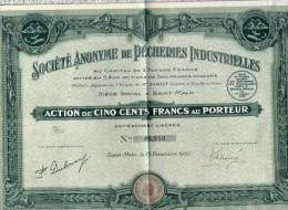 Société Anonyme De Pêcheries Industrielles  SAINT MALO (Action De Cinq Cents Francs) - Industry