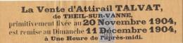 1904 - Timbre Fiscal Affiches Sur Bandeau Publicité Vente Attirail TALVAT THEIL Sur VANNE Yonne Report De Vente - Fiscales