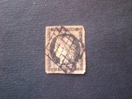 TIMBRE FRANCE FRANCIA 1849  Céres 20 CENT NOIR CHAMOIS GRILLE DE 1849 YVERT N. 3 - 1849-1850 Ceres