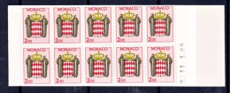 Monaco Carnet  2   Daté Armoiries Non Plié Neuf ** TB  MNH Sin Charnela  Faciale 3 - Carnet
