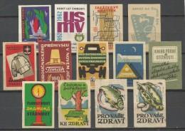 Matchbox Label Etiquette Allumette Lot 13 Pcs From Czechoslovakia - Matchbox Labels