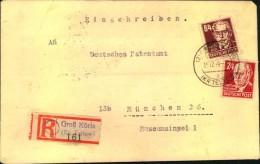 1949 , BRANDENBURG, (2) GROß KÖRIS (KR. TELTOW), Einschreiben, Köpfe - Zone Soviétique