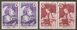 FRANCE   -  1971 .   Y&T N° 1700 à 1701 Oblitérés  EN  PAIRES  .    CROIX - ROUGE - France