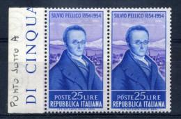 "1955 REPUBBLICA VARIETA´ N.753 PUNTO BIANCO SOTTO ""A"" - Variétés Et Curiosités"