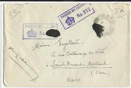 1940 - ENVELOPPE FM Avec DOUBLE CENSURE ANGLAISE Dont UNE MACULEE AINSI QUE LE SP Du DATEUR - ARMEE ANGLAISE EN FRANCE - Marcophilie (Lettres)