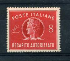 1947 REPUBBLICA REC. AUTORIZ. 8 LIRE FILIGRANA LETTERE MNH** - 6. 1946-.. Repubblica