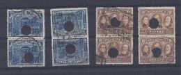 Belgie - Belgique 2 X OC77+OC78 +OC99 + OC100 - Gestempeld En Ontwaard Door Perforatie = Telegraaf - Guerre 14-18
