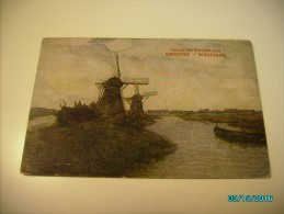 WINDMILL , CACAO EN CHOCOLAAD  , GROOTES  WESTZAAN , NETHERLANDS CANAL , OLD POSTCARD , 0 - Moulins à Vent