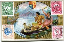 4 Chromos SODEX - La Poste Avec Timbres Tous Pays Série U - Nelle Zélande, Chine, Etats-Unis - Chromos