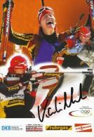 AK Biathlon Kati Wilhelm Original Autograph Card Autogramm - Sports D'hiver