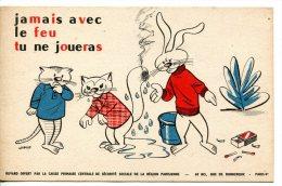 2 Buvards Sur La Prévention - Thèmes Feu, Soleil Avec Lapins, Chats - Buvards, Protège-cahiers Illustrés