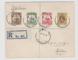 DTK088 / Kamerun, Engl.Besetzung Mi.Nr. 1, 2, 3b + Three Pence King Edward (Nigeria) Victoria,, Nach Bern 1919