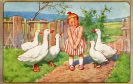Postcard / CP / Postkaart / Girl / Fille / Geese / Oies / Artist Signed / Ed. B. K. W. I. 240-5 / Unused - Illustrateurs & Photographes