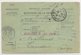 1915 - CARTE BULLETIN DE SANTE D'un BLESSE à L'HOPITAL AUXILIAIRE N°102 De CAEN (CALVADOS) Pour TENDON (VOSGES) - Guerre De 1914-18