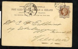 GB QV Postal Stationery Postcard CP15 1884 David Hyam London To Vienna (U526) - Stamped Stationery, Airletters & Aerogrammes