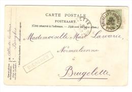 TP 56 S/CP De Sottegem(Zottegem) C.Ambulant Bruxelles-Tournai 1 + Griffe Encadrée Bierghes V.Brugelette PR2866 - Postmark Collection