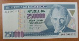 AC - TURKEY - 7th EMISSION 250 000 TL A 01 000 118 UNCIRCULATED - Turchia