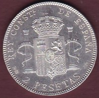 ESPAGNE. 2 PESETAS 1905 SM. V (*19*05). ALPHONSE XIII. ARGENT.SUP/XF++ - Premières Frappes