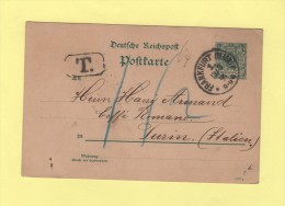 Frankfurrt Destination Turin - Taxe - 13-3-1891 - Briefe U. Dokumente