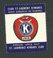 C2-35 CANADA Montreal St Lawrence Kiwanis Club 1946 Apple MHR - Local, Strike, Seals & Cinderellas