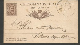 USP6---STORIA POSTALE,  UMBERTO  I.   INTERO  POSTALE,   CASSINO---SANTA MARIA CAPUA VETERE, - 1878-00 Umberto I