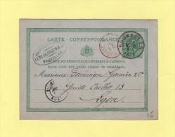 Bruxelles - Destination Lyon - 26 Nov 1877 - Stamped Stationery
