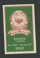 C3-06 CANADA 1932 Regina World's Grain Exhibiton Green MHR - Local, Strike, Seals & Cinderellas