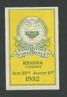 C3-08 CANADA 1932 Regina World's Grain Exhibiton Yellow MHR - Local, Strike, Seals & Cinderellas