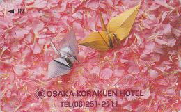 RARE Télécarte Japon - Jeu - ORIGAMI - Cocotte En Papier / Osaka Hotel - Paper Bird Japan Phonecard - Papier Kunst TK 71 - Jeux