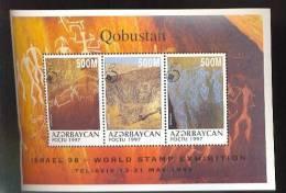 AZERBAYJAN    674  MINT NEVER HINGED MINI SHEET OF PREHISTORIC QOBUSTAN OP  ( AZERBAYCAN - Timbres