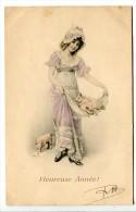 CP Viennoise - Jeune Femme Avec Des Petits Cochons - Belle Composition Colorisée - Nouvel An
