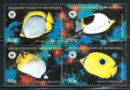 """Micronesia     """"Fishes-WWF""""     Block Of 4    SC# 274   MNH - Micronesia"""