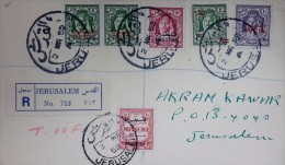 Palestine 1952 Circulated Letter To Jerusalem With 10 Fils Postage Due Palestine Overprinted Stamp. 2 Scans - Palestina